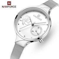 Naviforce Mulheres Relógios Top Moda Steel Quartz Relógio Senhoras À Prova D 'Água Flor Relógio Relogio Feminino