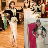 Two Pieces Velvet Evening Dresses with Jacket 2022 Luxury Gold Detail Dubai Arabic Kaftan Occasion Prom Gowns