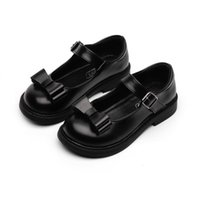 Flat Shoes Girls Leather British Style Fashion Bow-knot Kids Oxfords Children Formal For Wedding Performance Black Soft