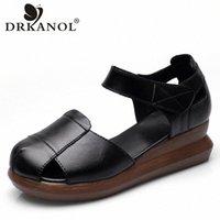 Drkanol Fashion Summer Shoes Sandales Femmes 2020 Rond Toe Toile Véritable Croîchements Sandales Sandales Dames Grêle Fantais Plate-forme L3M2 #