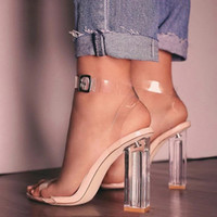 Dress Shoes Clear Heels Sandals Women PVC Transparent Summer Woman Suede Ankle Strappy Sandalias Mujer 7F9Z