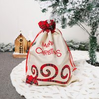 55 * 39cm Buffalo Plaid Plaid Santa Sack Grid Cordon de Noël Sac à cordon rouge Black Vérifiez bon bonbon Sacs-cadeaux Ornements
