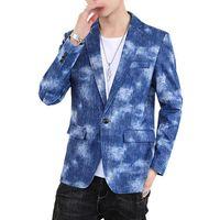 Chaqueta de mezclilla azul Moda para hombre Blazer Slim Blazer Primavera y otoño Nuevo TUXEDO Abrigo Hombres Gris Negro Abrigo Hombre Jackets