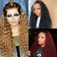26 Inch Long Kinky Curly Lace Front Wig For Women Black Ombre Blonde Red Synthetic Wigs Simulation Human Hair Heat Resistant