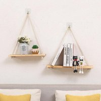 Hooks & Rails Wood Swing Hanging Rope Wall Mounted Floating Shelves Home Living Room Shelf Sundries Storage Outdoor Garden Decoration