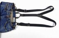 Bretelles de mode Cuir 6 Clips Brace Pantalon Bracelet Black Heavy Feight Y Bretelles Dos Dossier Clip réglable sur