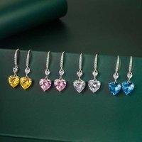 4 CT LOVE PENDANCE CHARM CROCHAGE DE CHARME DE CHARME FEMMES COEUR Boucles d'oreilles Jaune Diamant Diamant rose