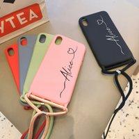 Nome personalizzato iniziali cassa in silicone morbida con fionda fai-da-te design per iPhone 11 Pro Max 7 8 Plus X XR XS 11 Case Telefono SE 2020 Coque