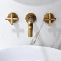 Sink del lavandino del bagno a parete Rubinetto 360 beccuccio girevole in ottone massiccio doppia croce maniglie
