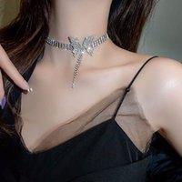2021 роскошный кристалл кристалл бабочка ожерелье женские ключицы бабочка цепь нагрудник приведение колье ожерелье шеи кисточки ключицы кулон высокого класса качества женские украшения