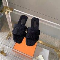 Designer Soft H Shellskin Slides Slide Pantofole Donne Sandalo in pelle di lana Oran con Suola in gomma Pelliccia Pelliccia Peluche Peluche Peluche Peluche con scatola 328