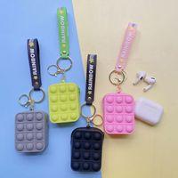 Fidget Toys Silicone Push Bubble Coin Storage Decompression Purse Pouch Bag Keychain Decor Bubbles Toy