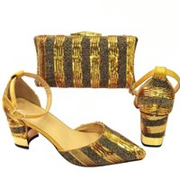 Dress Shoes Fashion Gold Women Match Purse With Sequins Decoration African Pumps And Handbag Set For Dressing CR670,Heel 7.8CM