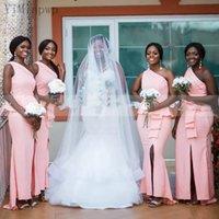 Pink Mermaid Bridesmaid Dresses One Shoulder Side Split Peplum Ruffles Garden Wedding Guest Party Gowns Maid of Honor Dress Custom