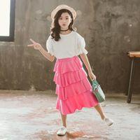 Skirts 4 Layer Big Girls Long Skirt Children Clothes Kids High Waist Teenage Girl Summer Autumn 6 8 9 10 11 12 13 14 15 Years