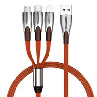 USB Cables 3 in 1 Charging Cable 3A Fast Charge Type C Charger Data Sync Cord 1.2M With Metal Head for Phone iPhone Samsung Huawei LG Xiaomi