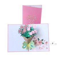 Cartão de dia de mãe 3d pop-up Flores Aniversário Cartão de Aniversário Presentes Cartão Postal Mães Dia dos Pais Cartões EWA3816