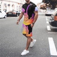 2021 summer new style T-shirt and women's casual two piece set tide 3D digital printing
