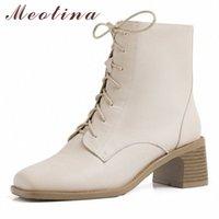 Meotina Winter Knöchelstiefel Frauen Natürliche Echtes Leder Dicke High Heels Kurze Stiefel Reißverschluss Quadratische Zehe Schuhe Damen Größe 34 40 Stiefel P7Ull #