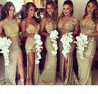 Gold Pailletten Brautjungfernkleider mit langer Zug Sexy Side Split Mantel Party Abendkleider 2016 Günstige Brautmädchen der Ehrenkleid