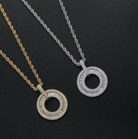 Hip Hop Rock Cubic Zirconia Paved Bling Ice Out O Shape Circle Pendants Necklaces for Men Women Rapper Jewelry