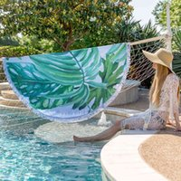 150cm Round Beach Towel Summer BeachTassel Tapestry for Adults Geometric Flag Swimming Sunbath Large BeachTowels together.