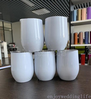 12oz Blank Sublimation Wine Tumblers Egg Shaped Wine Glass Double Wall Mugs Stainless Steel Tumblers with Lid Sea Shipping FY4318