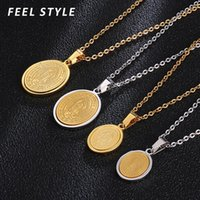Pendant Necklaces Gold Silver Color Stainless Steel Guadalupe Virgin Mary Oval Medal Necklace For Women Our Lady Chocker Birthday Gift