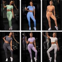الهياسات الرياضة مجموعة رياضة العمل ممارسة ملابس النساء المحاصيل قميص عالية الخصر طماق الدعاوى الزي اللياقة البدنية اليوغا مجموعات الرياضية
