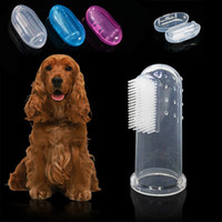 Suave mascota dedo cepillo de dientes cepillo de peluche cepillo mal aliento tártaro dientes cuidado perro gato limpieza suministros suave cepillo de dientes W-00704