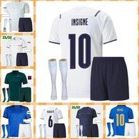 Itália Soccer Jersey 2021 Barella Sensi Insigne 20 21 Copa Europeia Renascimento Chiellini Bernardeschi Camisas de futebol Men + Kit Kit uniformes