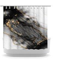Mermer Duş Perdesi Siyah ve Altın Banyo Dekor Soyut Modern Banyo Perdeleri 3D Baskılı Sanat Kumaş Küvet Aksesuarları Kanca ile 72x72 inç
