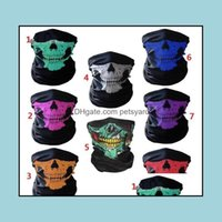 Caps Masks Protective Gear Cycling Sports & Outdoors Unisex Halloween Cosplay Bicycle Ski Skl Half Face Mask Ghost Scarf Bandana Neck Warmer