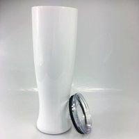 30oz diy sublimação de calor pilsner em forma de caneca de parede dupla vaso tumbler vácuo copos de cerveja de aço inoxidável beber chá xícaras de chá zyy