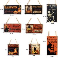 Halloween Welcome Hanging Signs Pumpkin Witch Skull Wooden Plaque Board For Party Home Wall Door Decorations Gift