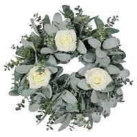 Decorative Flowers & Wreaths Artificial Spring Wreath White Rose Floral For Front Door Wall Window Wedding Arch Party Home Decor