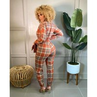 Women's Two Piece Pants Fall Clothes Plaid Loose Zip Pockets Jumpsuit Women Sexy One Outfits Lounge Vacation Overalls Streetwear Wholesale I