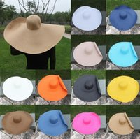 Sombreros de ala ancha Mujeres gigantes plegables Sombrero de gran tamaño 70 cm Diámetro enorme Floppy Summer Sun Playa Straw T478