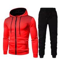 Осень и зима фитнес спортивный костюм свитер с капюшоном + брюки цифровые печатные любители отдыха