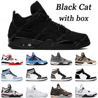 with box mens basketball shoes 4s black cat fire red white cement 1s university blue silver toe twist mens sports sneaker
