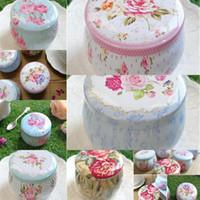 Çay Taşınabilir Davul Şeklinde Kalay Kutuları Çiçek Konteyner Kutular Şeker Çerez Kutusu Parti Hediyeleri Paketi için DHD5366