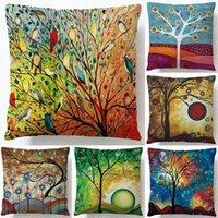 Cushion Decorative Pillow Hand-painted Three-dimensional Oil Painting Fortune Tree Linen Pillowcase Custom Living Room Sofa Digital Printing