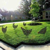 Newrorooster 암컷 아크릴 동물 스테이크 정원 실루엣 야드 아트 치킨 조각 동상 장식품 잔디 야외 장식 치킨 마당 아트 EWF69