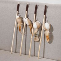 New Linen Handle Feather Bait Solid Wood with Bell Wooden Pole Tease Stick Cat Toy