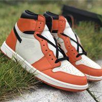Top-Version 1 Hohe OG-Schuhe Zerschmetterte Backboard Away Designer Basketball Komfort I Schwarz Weiß Orange Segel Mode Sneaker Schiff mit Box