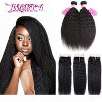 Braziliaanse Kinky Straight Hair 3 Bundels met 4x4 Kantsluiting Nertsen Braziliaanse Afro Kinky Rechte Onverwerkte Human Hair Extensions 3pcs Lot