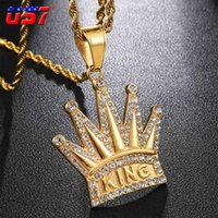 Designer Necklace Luxury Jewelry Bling Iced Out Crown KING Pendants&s Crystal Tennis Chain Stainless Steel Hip Hop Cool Street For Men Gifts
