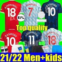 21 22 Manchester B. Fernandes Sancho Fußball Jersey United Home Away 3rd Ronaldo Cavani Utd van de Beek 2021 2022 Rashford Football Hemd Erwachsene Frauen Mann + Kinder Kit Jugend