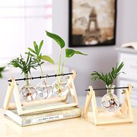 Vintage creativo pianta idroponica pianta trasparente vaso in legno telaio in legno caffetteria stanza vetro pianta da tavolo pianta bonsai home decor flower vaso 694 k2