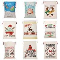 US-Lager-Weihnachtsgeschenk-Taschen Leinwand Baumwolltasche 39 Arten Santa Sack Kordelzug-Beutel-Partybedarf
